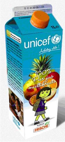 Des jus de fruits Unicef dans les rayons des supermarchés
