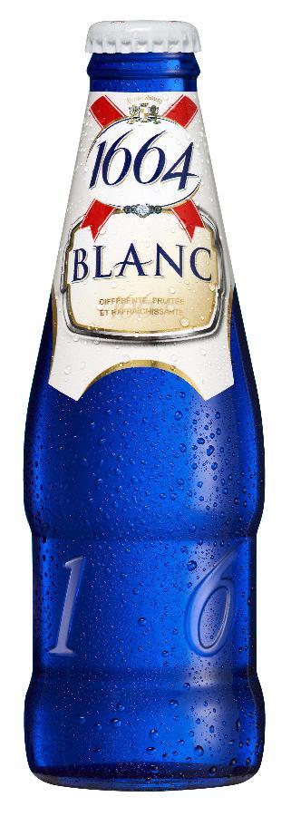Une 1664 blanche dans un pack tout bleu