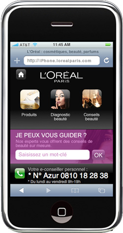 L'Oréal Paris crée un site mobile dédié pour l'iPhone