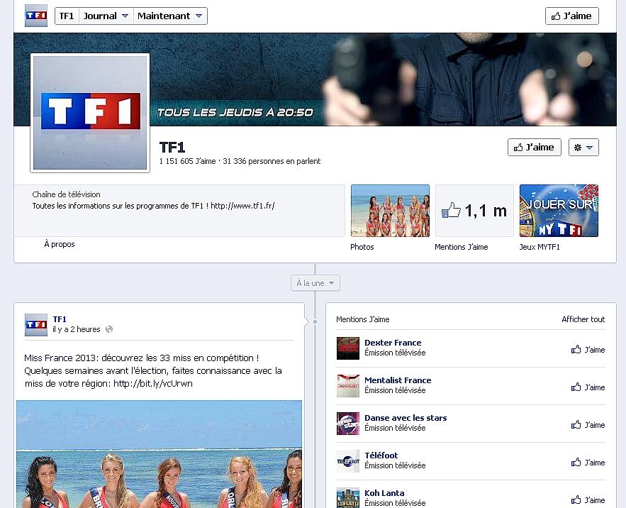 tf1 et m6 cha nes tv les plus performantes sur facebook. Black Bedroom Furniture Sets. Home Design Ideas