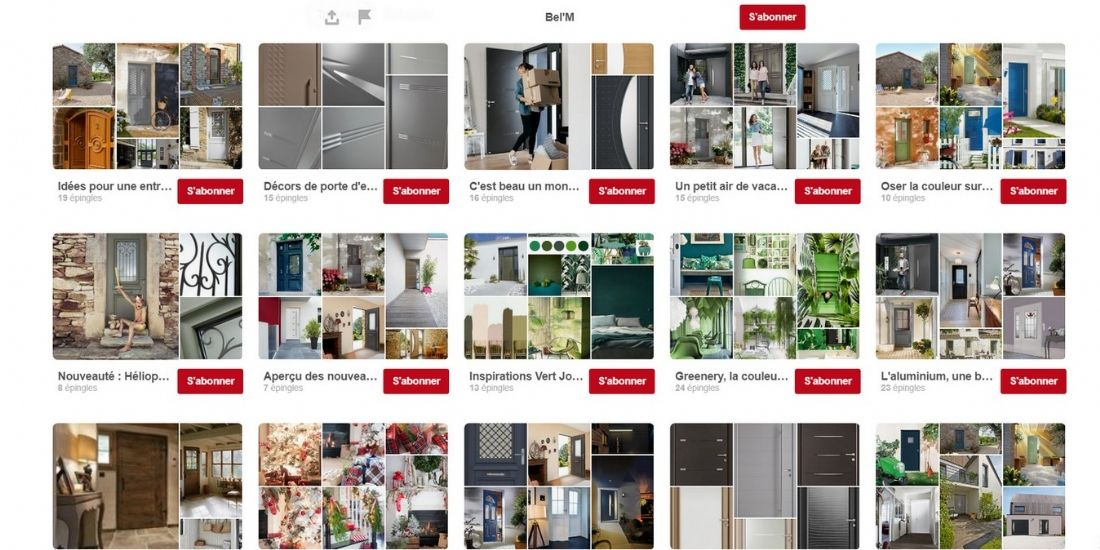 La page Pinterest de Bel'm. Le fabricant de portes d'entrée utilise la plateforme pour générer du trafic sur son site et des leads.