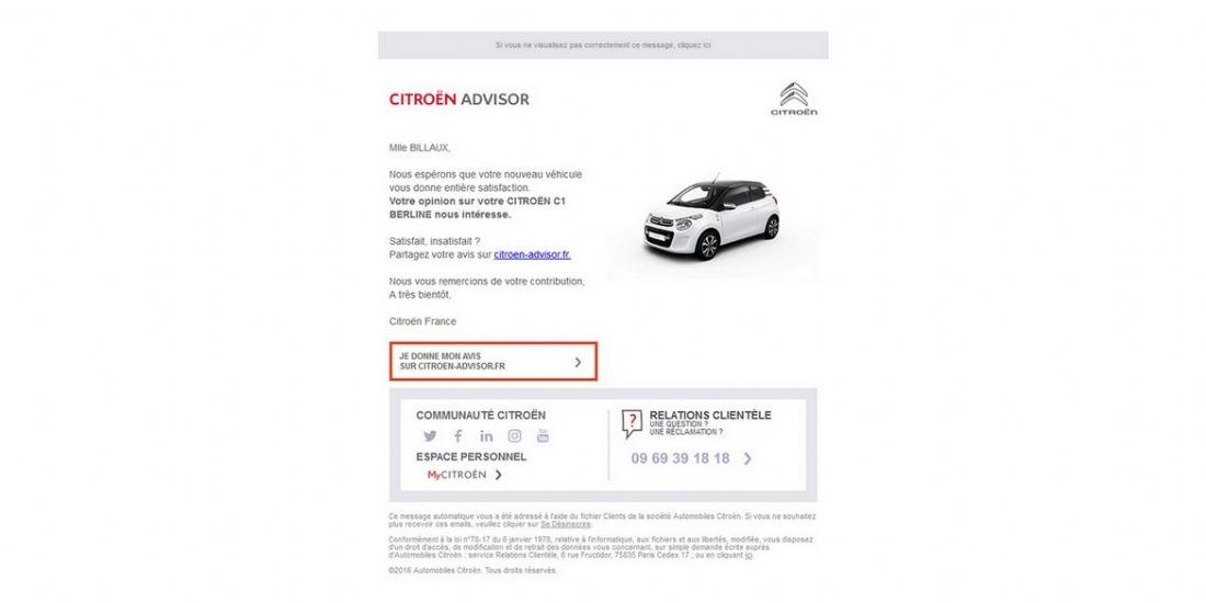 Citroën se reconnecte avec ses clients par email
