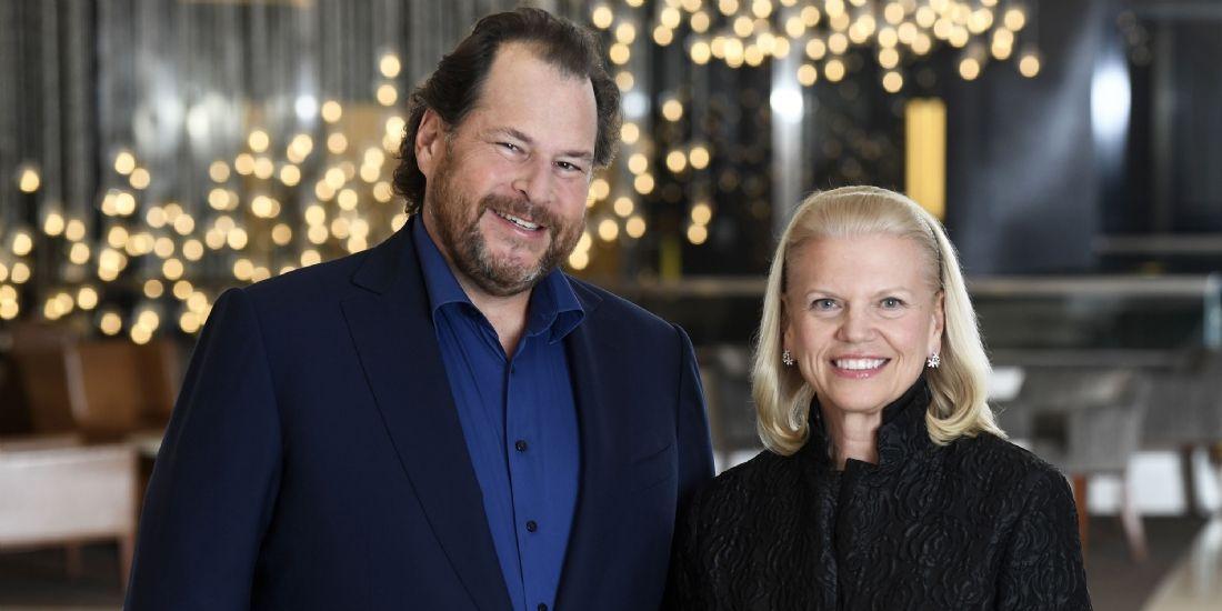 Marc Benioff, président et p-dg de Salesforce et Ginni Rometty, présidente et p-dg d'IBM